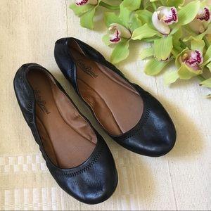 Lucky Brand black stretch leather flats size 8.5